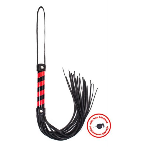 Whip Black Red Leather With Blindfold