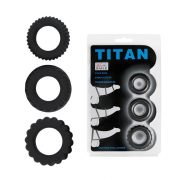 Titan 3 in 1 Silicone Rings Black