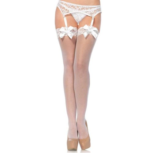 721912 SHEER THIGH HI LACE TOP W/ SATIN BOW O/S WHT