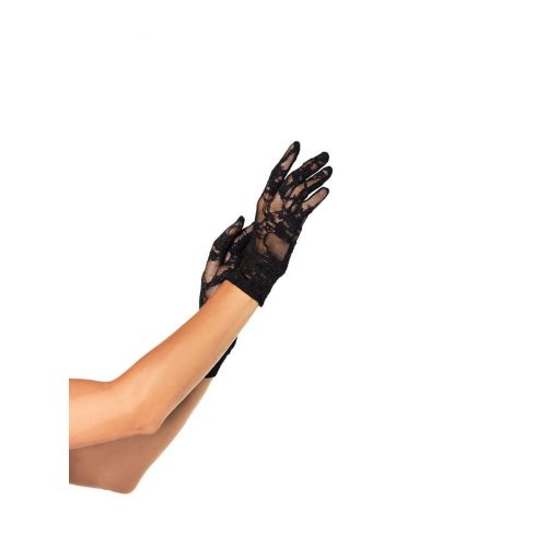 (2PC.PACK)STRETCH LACE WRIST LENGTH GLOVES O/S BLK