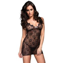 7286044 BOUDOIR ROSE LACE MINI d W/ POLKA DOT BOW & CUT OUT  O/S BLK/BLK