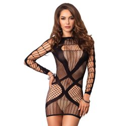 Multi net  mini dress black O/S
