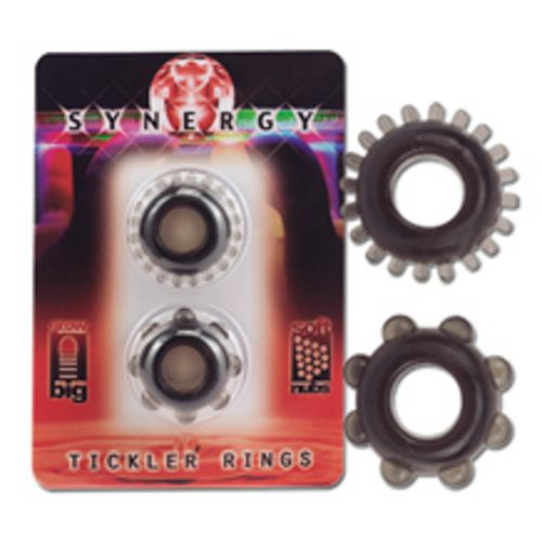 Synergy Tickler Rings Color Black. Set of 2 rings black. Soft and elastic.